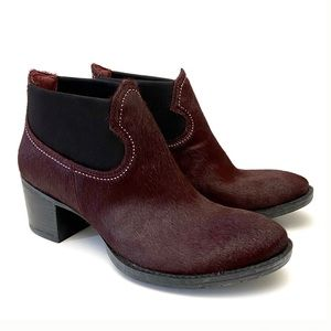Clarks Oxblood Pony Hair Leather Ankle Booties